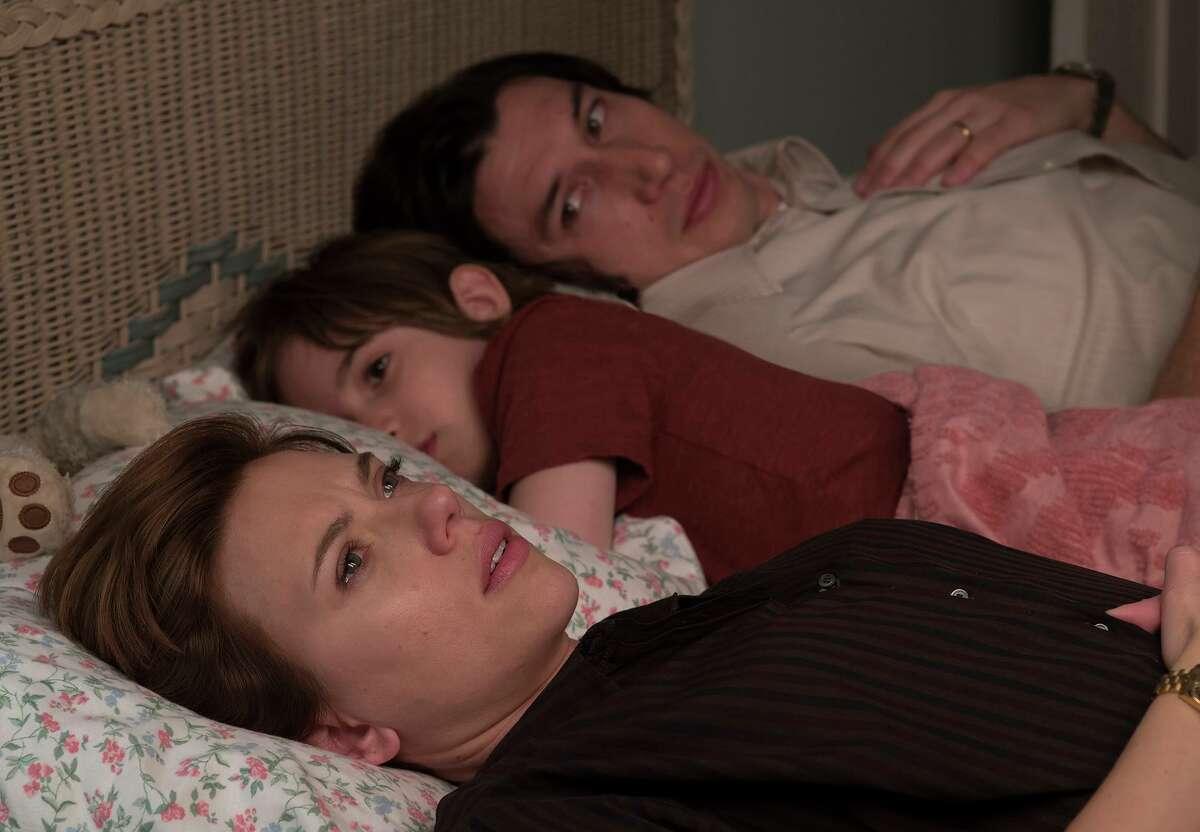 "Scarlett Johansson, left, Azhy Robertson and Adam Driver in the movie ""Marriage Story."" (Wilson Webb/Netflix/TNS)"