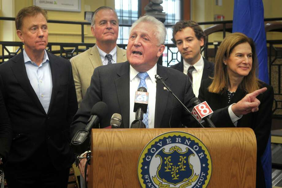 Mayor Harry Rilling speaks during a news conference at the South Norwalk train station, in Norwalk, Conn. Jan. 6, 2019. Photo: Ned Gerard / Hearst Connecticut Media / Connecticut Post