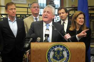 Mayor Harry Rilling speaks during a news conference at the South Norwalk train station, in Norwalk, Conn. Jan. 6, 2019.