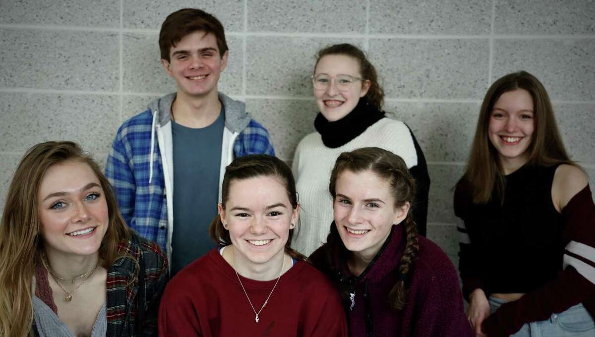 The Cast of Silent Sky at RHS. Back row, left to right: Liam Huff, Lucy Basile, and Jessica Hay. Front row, left to right: Stage Manager Shane Jaeger, Charlie Ward, Audrey Huff.
