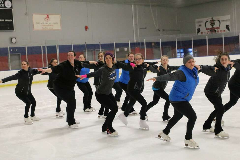 Members of the Empire Edge, the Albany Figure Skating Club's synchronized skating team, practice on Monday night at the Albany Academy skating rink. They will be competing in the synchronized skating competition at the Times Union Center Jan. 18. (Photo courtesy of team manager Mary LeClair).