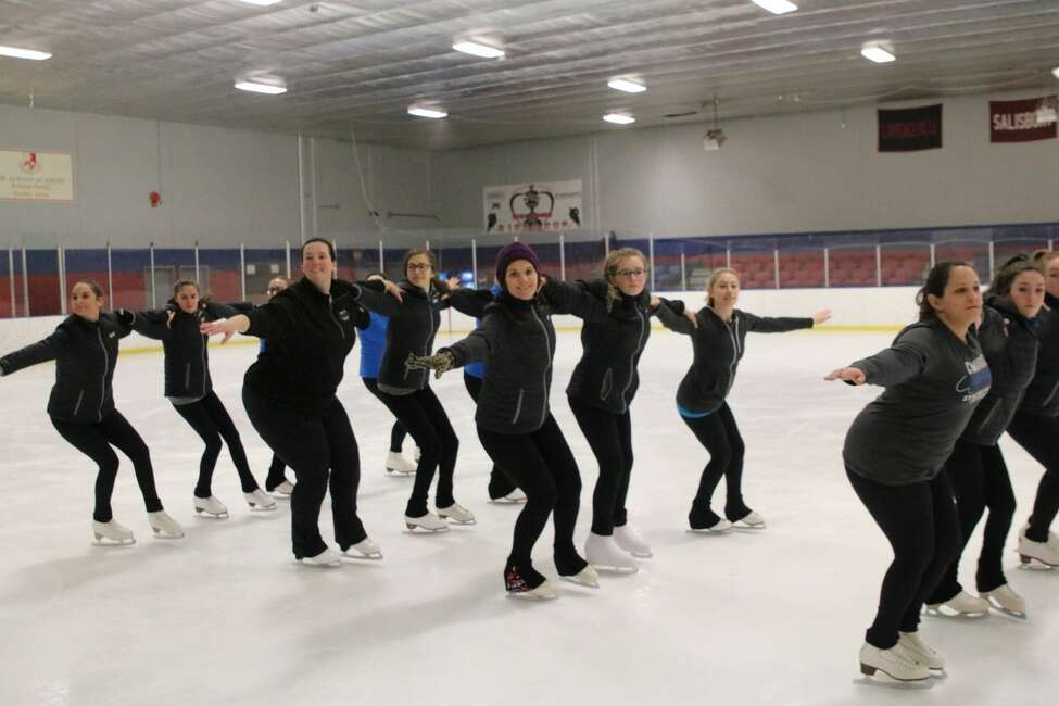 Members of the Empire Edge, the Albany Figure Skating Club's synchronized skating team, practice  at the Albany Academy skating rink earlier this month. They will be competing in the synchronized skating competition at the Times Union Center on Jan. 18.  (Photo courtesy of team manager Mary LeClair).