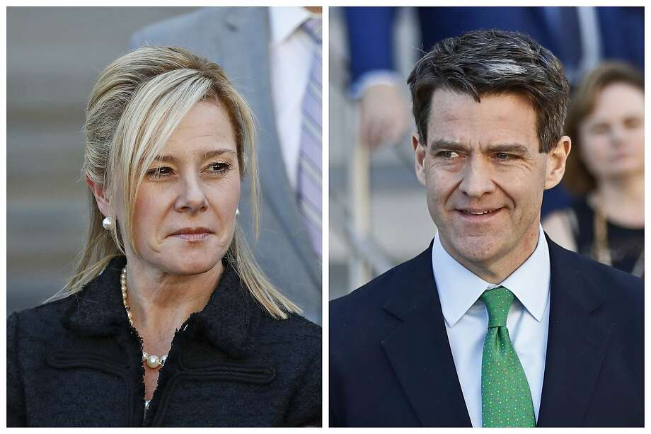 FILE - This combination of March 29, 2017 file photos shows Bridget Kelly, left, and Bill Baroni leaving federal court after sentencing in Newark, N.J. The U.S. Supreme Court will hear arguments Tuesday on whether to throw out the convictions of the two former aides to former Republican Gov. Chris Christie in New Jersey's 'Bridgegate' case. Baroni and Kelly have argued their actions may have unethical but weren't criminal. The court's decision, expected this spring, could have a far-reaching impact on how public corruption investigations are handled. (AP Photo/Julio Cortez, File) Photo: Julio Cortez, Associated Press