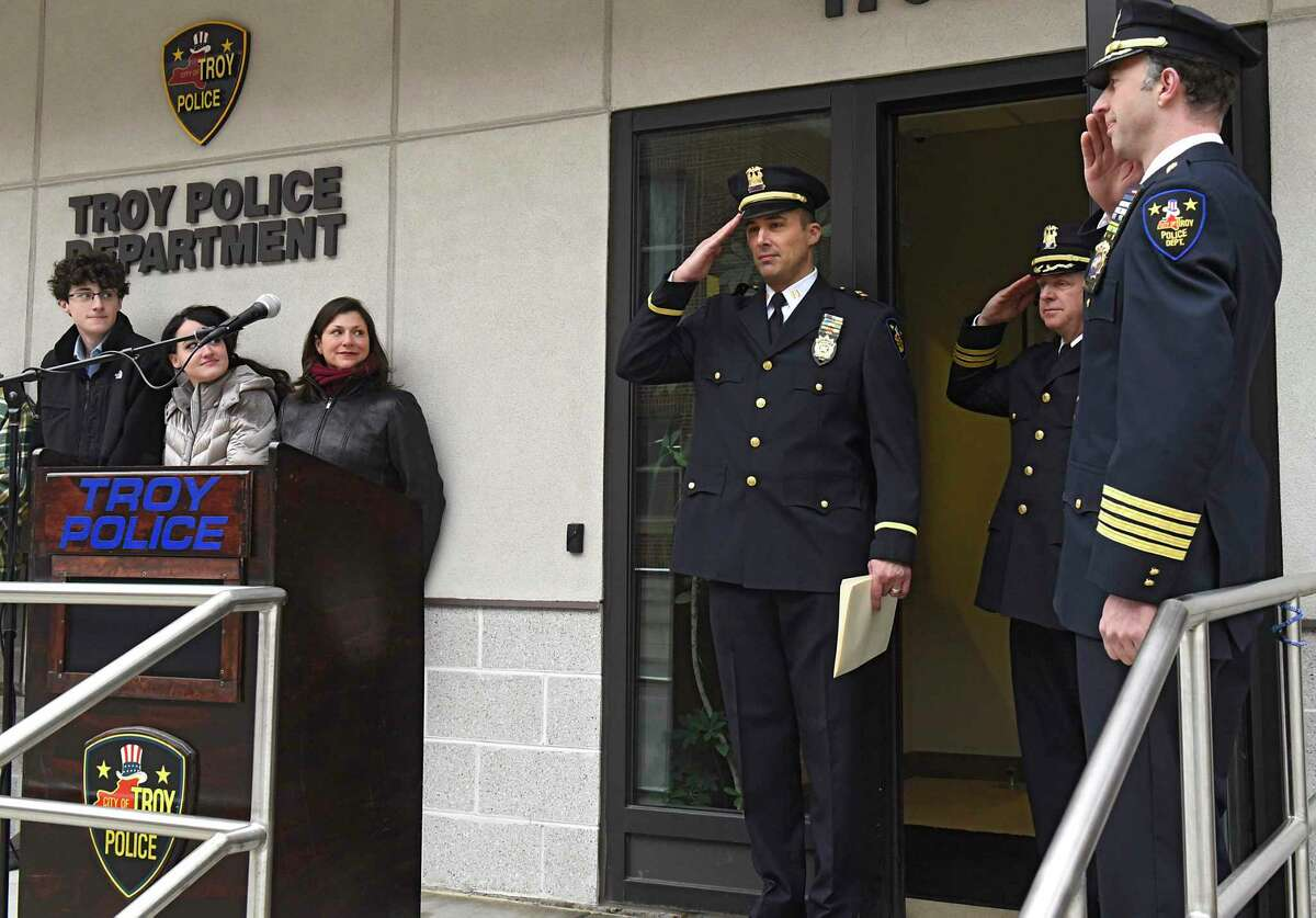 Detective Capt. Joseph Centanni, third from right, is honored with a walkout ceremony upon his retirement on Friday, Jan. 10, 2020 in Troy, N.Y. (Lori Van Buren/Times Union)