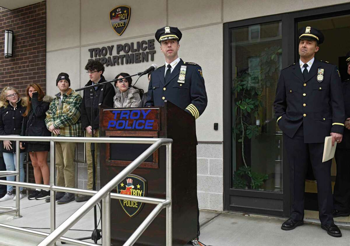 Troy Police Chief Brian Owens speaks as Detective Capt. Joseph Centanni, right, is honored with a walkout ceremony upon his retirement on Friday, Jan. 10, 2020 in Troy, N.Y. (Lori Van Buren/Times Union)