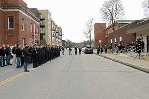 Part of Sixth Ave. is closed off as Detective Capt. Joseph Centanni is honored with a walkout ceremony upon his retirement on Friday, Jan. 10, 2020 in Troy, N.Y.  (Lori Van Buren/Times Union)