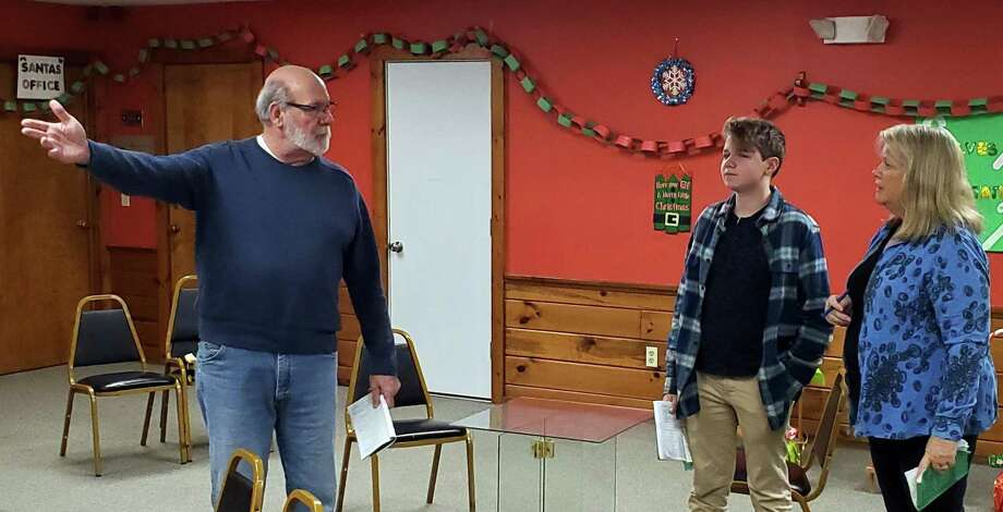 "At a rehearsal of ""On Golden Pond"" are, from left, Jim Hile, Jake Totten and Terri Corigliano. Photo: Saybrook Stage / Contributed Photo"