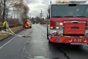 DANBURY — Police and Fire Department first responders put out a car fire on Balmforth Avenue in December. No one was hurt, fire officials said.