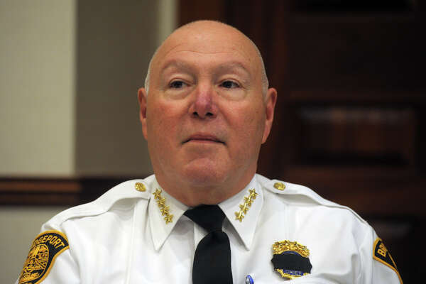 """Police Chief Amando """"A.J."""" Perez speaks attends a Racial Profiling Prohibition Project community forum at the Morton Government Center, in Bridgeport, Conn. Jan. 9, 2020."""
