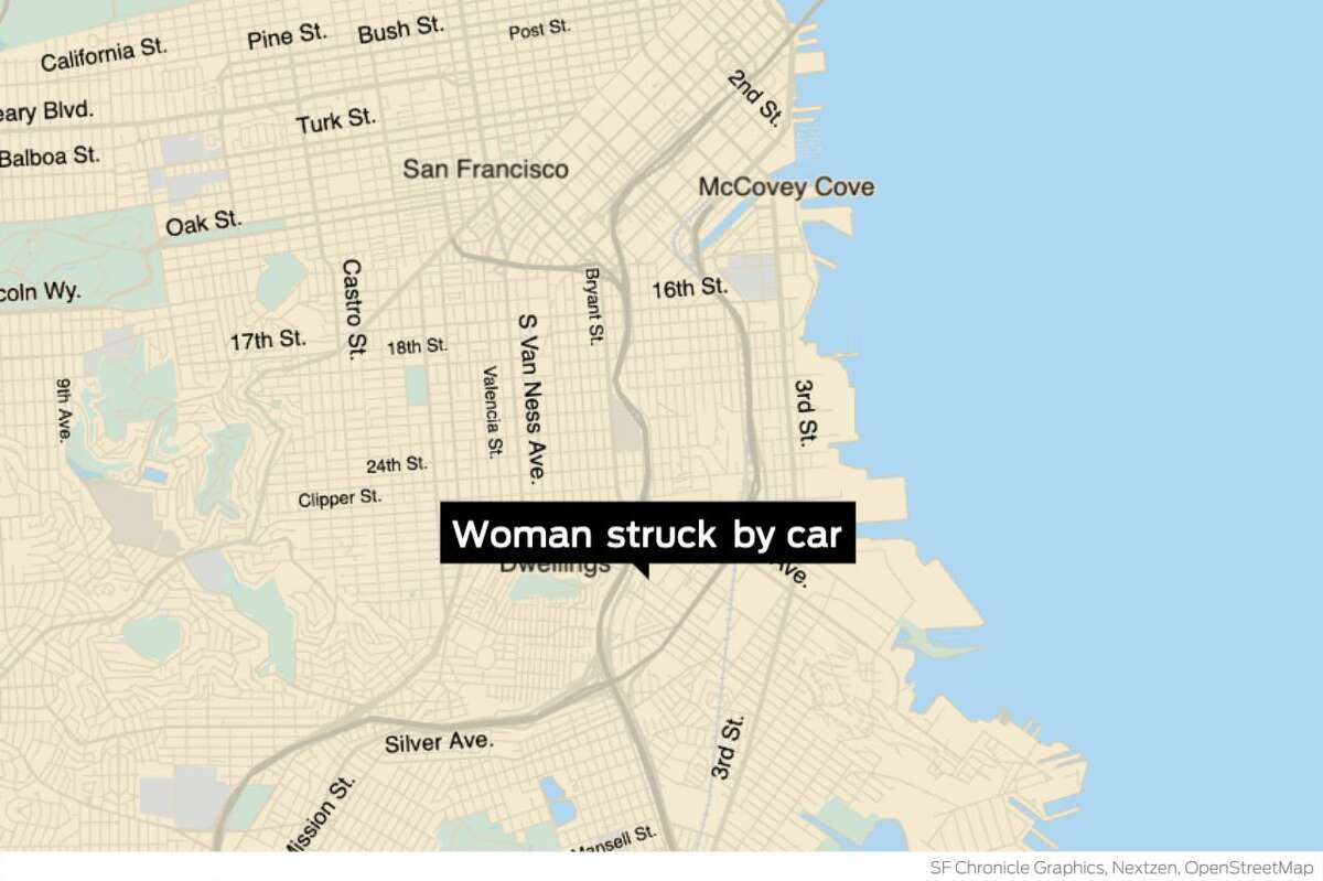 A woman sustained life-threatening injuries after being struck by a car in the Bayview neighborhood