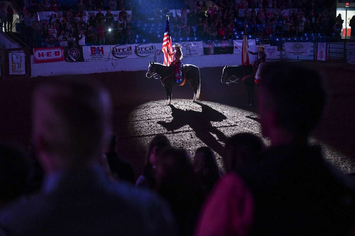 The American flag is presented during the National Anthem at the Sandhills Rodeo Thursday, Jan. 9, 2020 at the Ector County Coliseum. Jacy Lewis/Reporter-Telegram