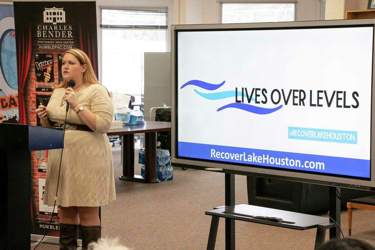 """Jennifer Armstrong, President and CEO of the Lake Houston Area Chamber of Commerce, announced their campaign """"Lives Over Levels"""" at Humble BizCom two days after the campaign started."""