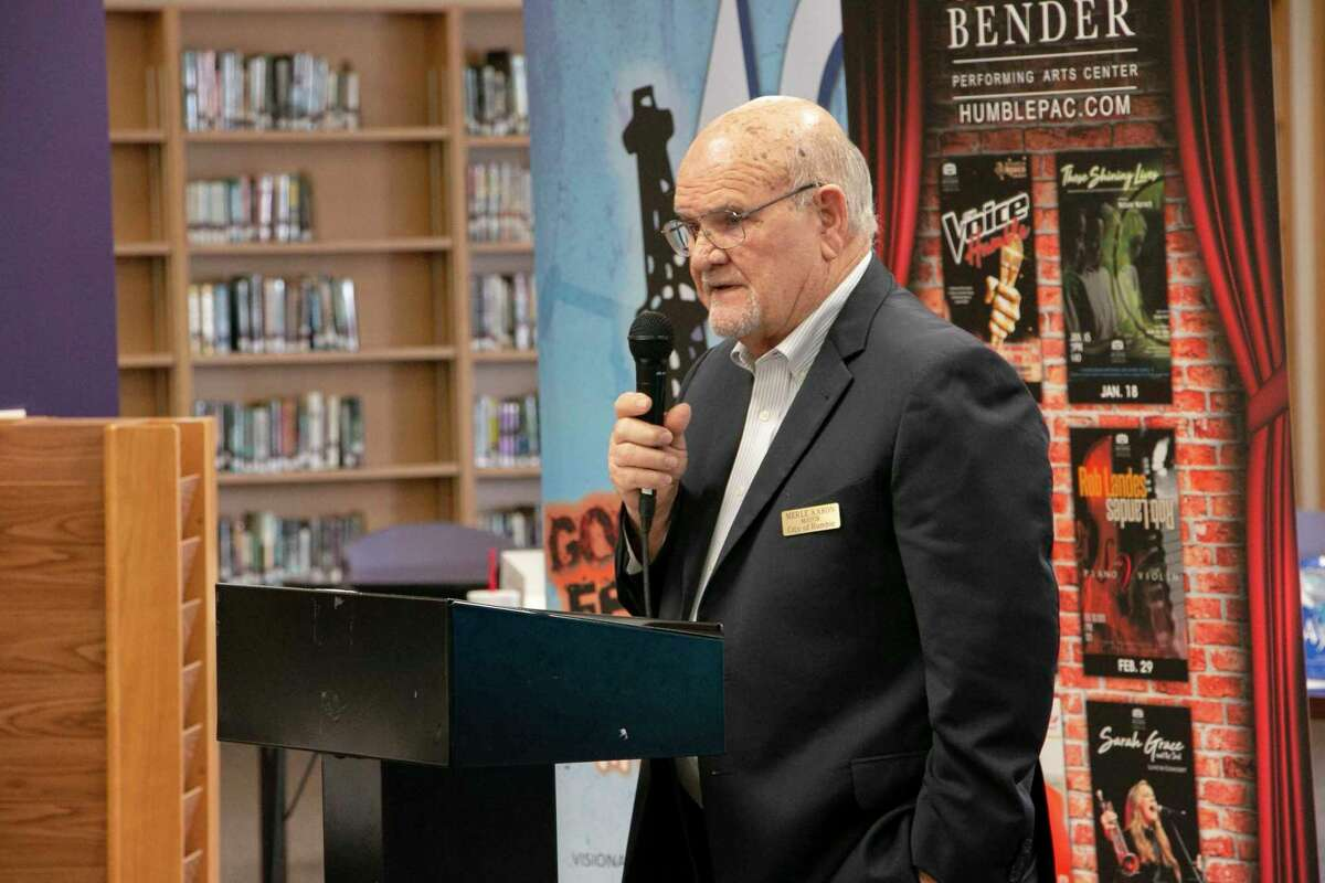 Mayor of Humble Merle Aaron discussed downtown Humble improvements at a previous Humble BizCom earlier this year held at Humble High School.