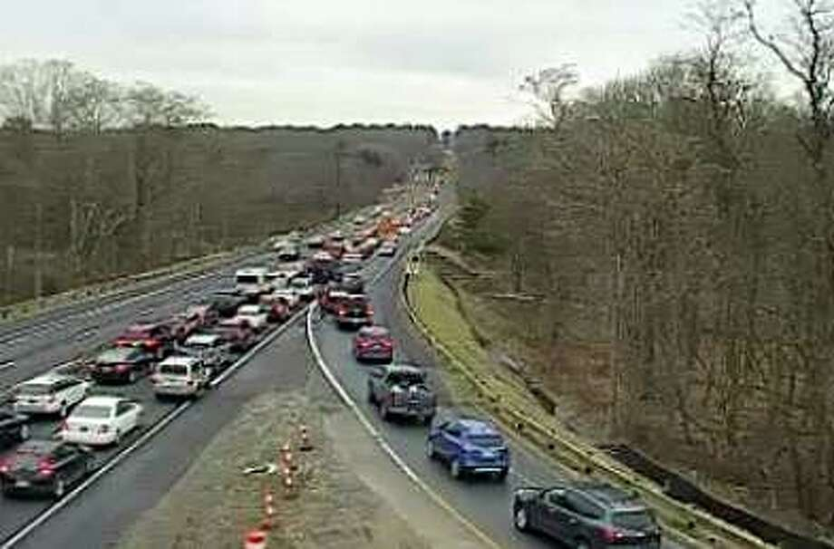 A vehicle fire has closed the northbound lane on the Merritt Parkway in Fairfield Friday afternoon. Photo: Traffic Cam At NB Entrance 42 In Westport At 12:15 P.m. On Friday, Jan. 10, 2020.