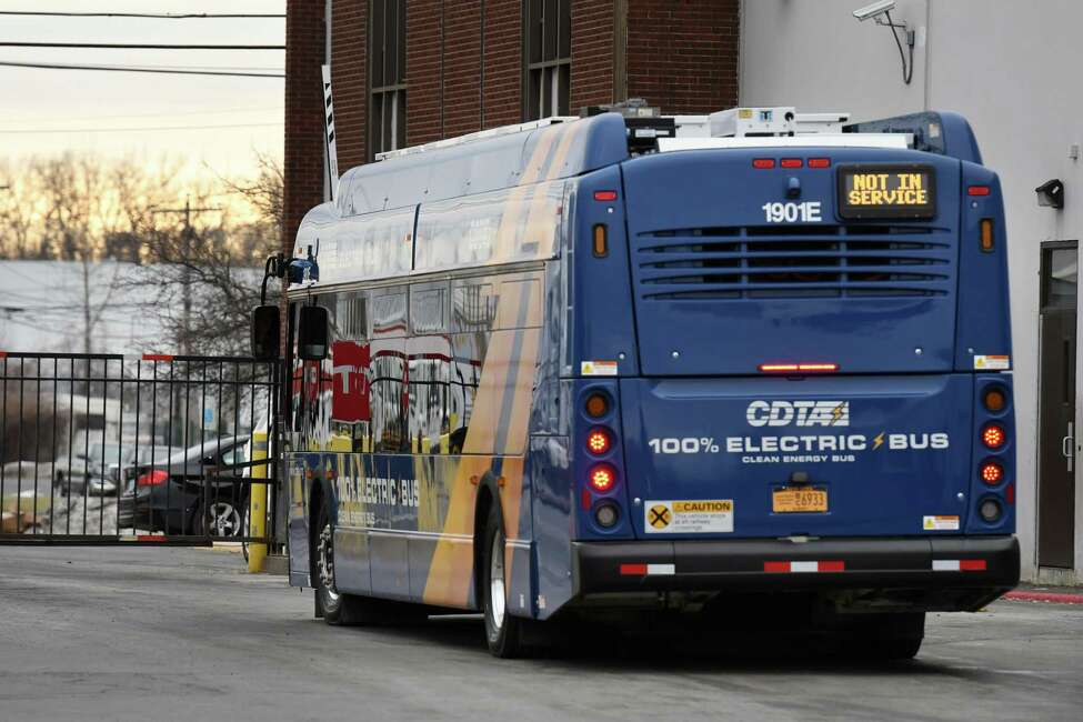 One of the Capital District Transportation Department's four new electric busses is driven out of the depot garage on Friday, Jan. 10, 2020, in Albany, N.Y. CDTA's implementation of the New Flyer Xcelsior CHARGE 40-foot buses are said to eliminate between 85 and 175 tons of greenhouse gas emissions annually, according to CDTA. (Will Waldron/Times Union)