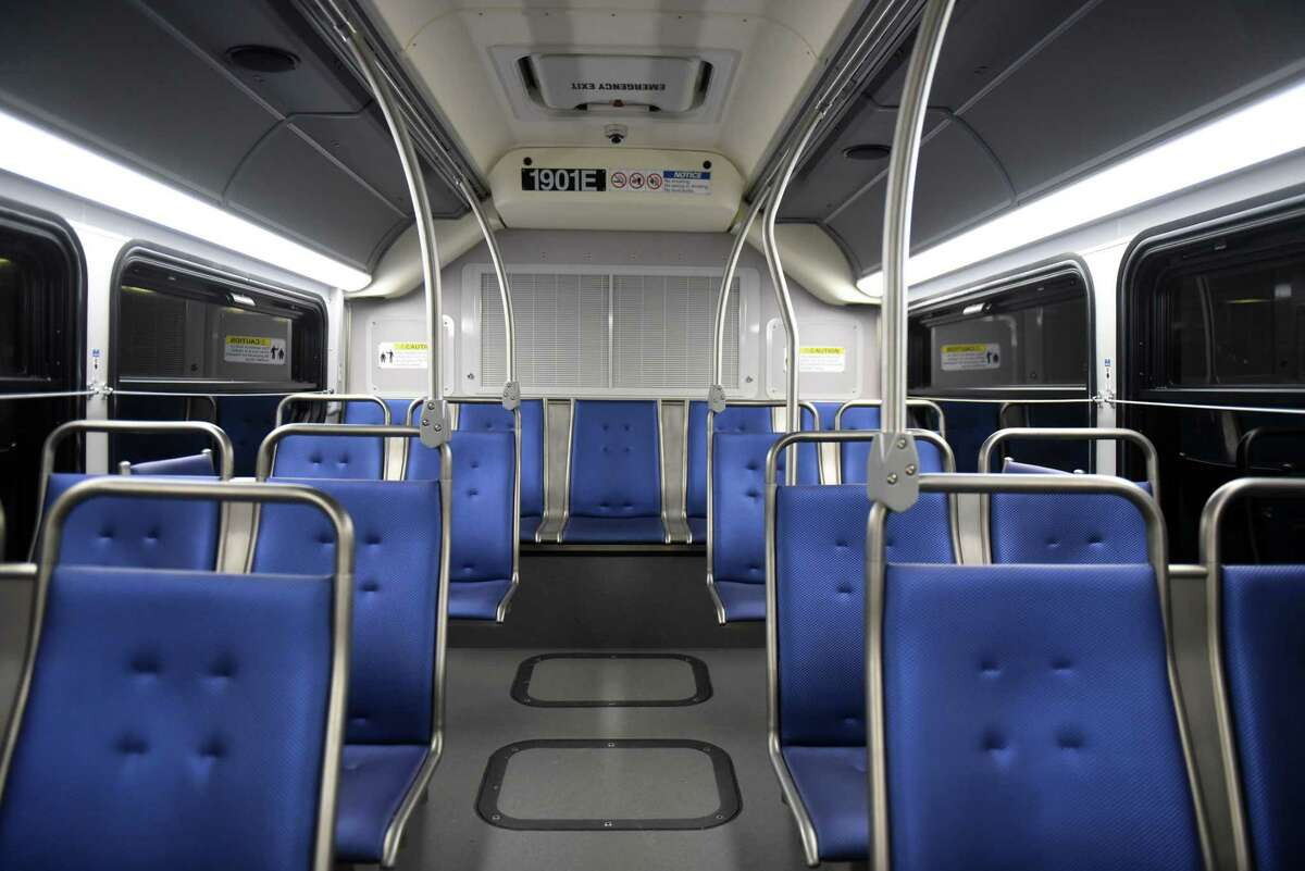 Interior of one of the new Capital District Transportation Department electric buses on Friday, Jan. 10, 2020, in Albany, N.Y. CDTA's implementation of the New Flyer Xcelsior CHARGE 40-foot buses are said to eliminate between 85 and 175 tons of greenhouse gas emissions annually, according to CDTA. (Will Waldron/Times Union)