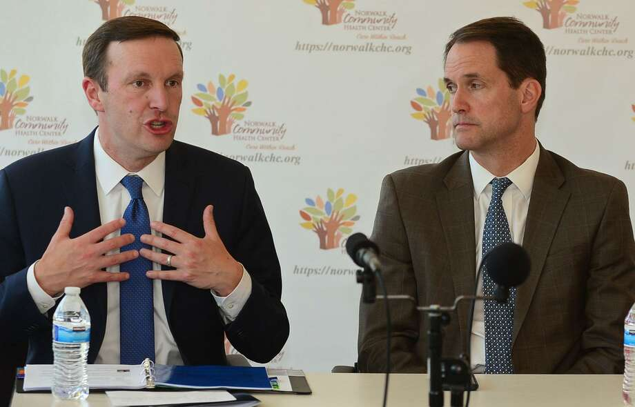 U.S. Sen. Chris Murphy, left, and U.S. Rep. Jim Himes, appearing here at an event in Greenwich last year. Photo: Erik Trautmann / Hearst Connecticut Media / Norwalk Hour