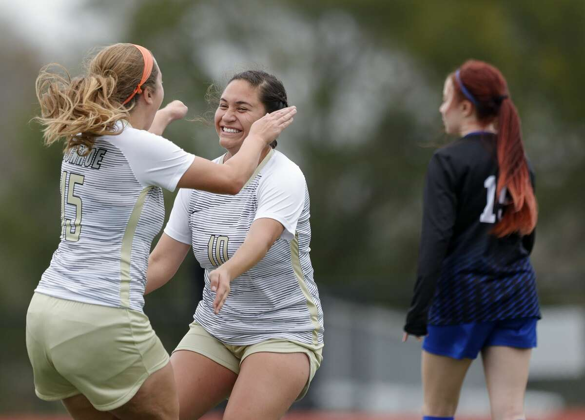 Conroe's Melissa Giron (10) reacts after Courtney Bokanyi's goal in the first period of a match during the Kat Cup soccer tournament at Berton A. Yates Stadium, Thursday, Jan. 9, 2020, in Willis.