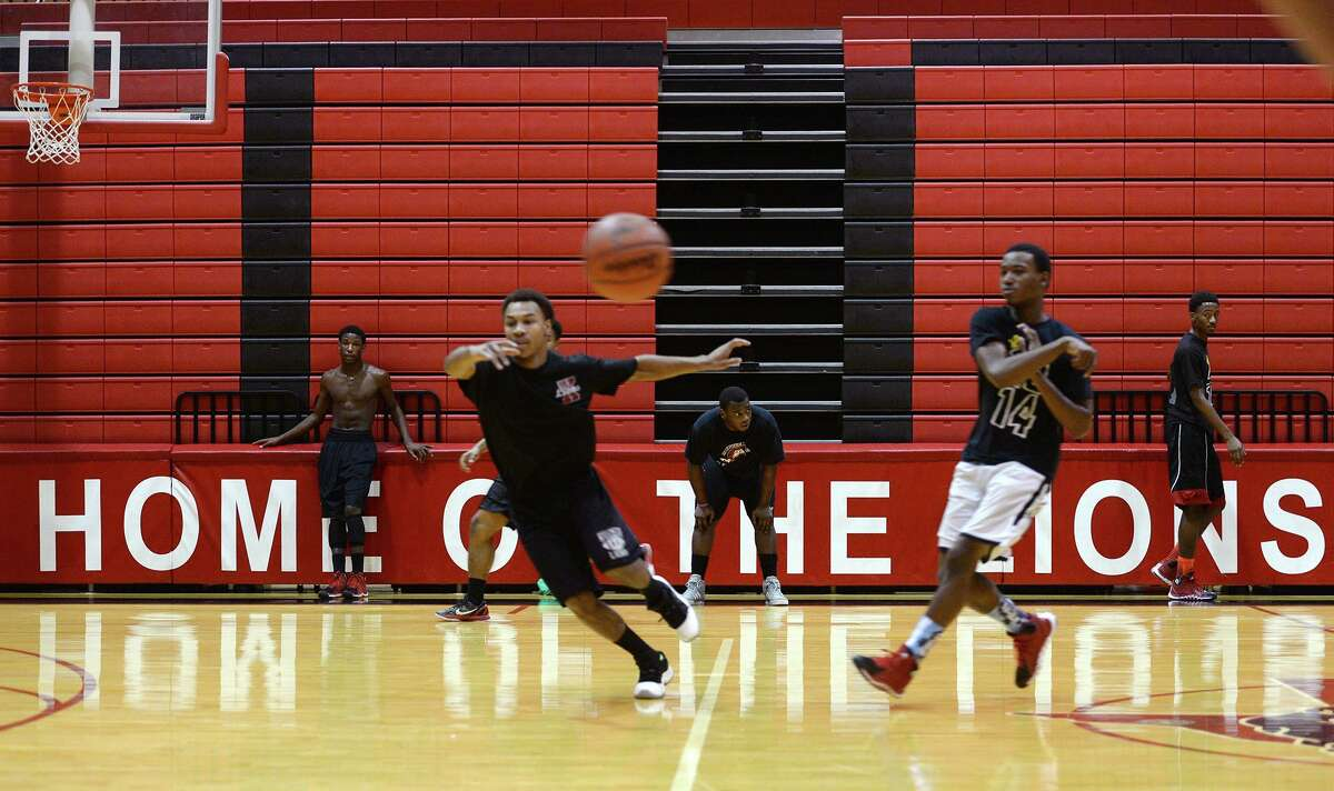 Players run through drills during practice at Kountze High School on Monday. The highly ranked Kountze High School basketball team practiced at the school gym Monday afternoon. Photo taken Jake Daniels/@JakeD_in_SETX