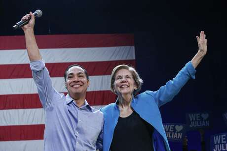Julian Castro and Senator Elizabeth Warren attend a rally on Jan. 7, 2020 in New York City. After dropping out of the presidential race, former HUD Secretary Julian Castro endorsed Senator Warren for president.