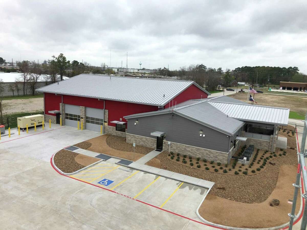An aerial view of Champions ESD Fire Station 12 looks down at the building from atop the training tower behind the facility.