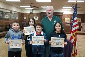 Five area youth are preparing to participate in the PanWest District Hoop Shoot hosted by the Elks Lodge on Saturday. (L-R) Matias Flores, Brittany Falcon, Carter Gonzales, Ariel Falcon and (not pictured) Hank Bouma will compete in the free throw contest for a chance to advance to the state round. Mark Nelms, exhalted ruler of the Plainview Elks Lodge #1175, stands with the kids.