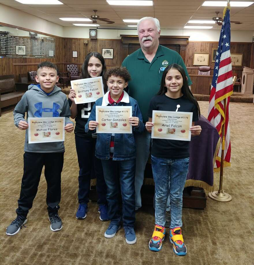 Five area youth are preparing to participate in the PanWest District Hoop Shoot hosted by the Elks Lodge on Saturday. (L-R) Matias Flores, Brittany Falcon, Carter Gonzales, Ariel Falcon and (not pictured) Hank Bouma will compete in the free throw contest for a chance to advance to the state round. Mark Nelms, exhalted ruler of the Plainview Elks Lodge #1175, stands with the kids. Photo: Courtesy Photo