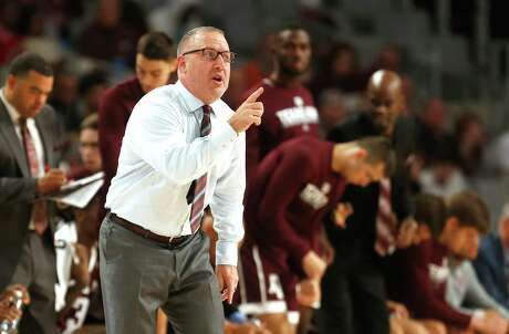 Texas A&M head coach Buzz Williams calls a play as Texas A&M plays Texas during the second half of an NCAA college basketball game, Sunday, Dec. 8, 2019, in Fort Worth, Texas. Texas won 60-50. (AP Photo/Ron Jenkins)