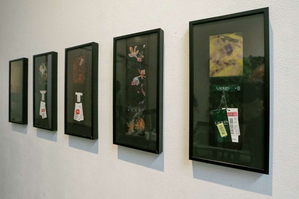 """Five of seven photo collages titled """"Shopping for Bargains"""" by San Antonio artist Kathy Vargas."""