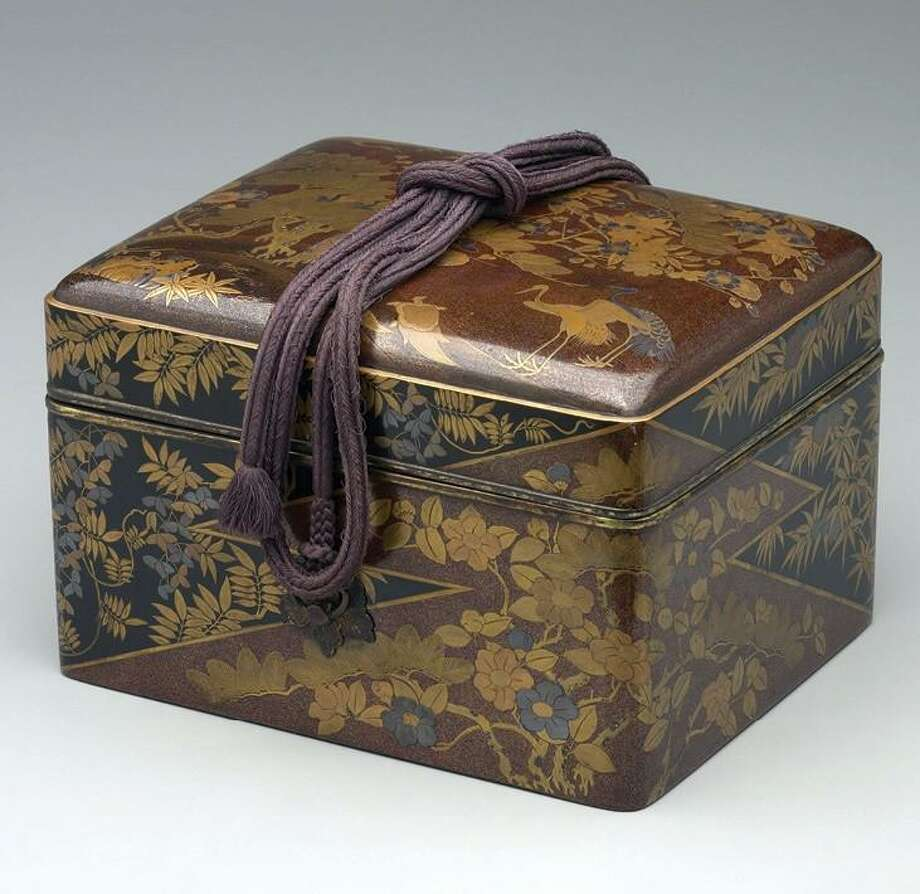 Trousseau Box, Edo period (1615-1868), mid-to late 17th century, black lacquer ground on wood with decoration in gold. On loan from Yale University Art Gallery (gift of Peggy and Richard M. Danziger, LLB. 1963, 2001.801) Photo: Fairfield University