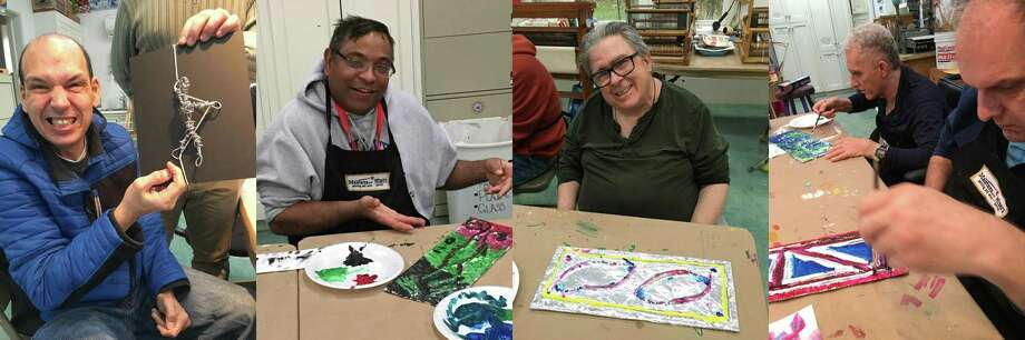 Participants in Ability Beyond's ABI Day Program — Sam Plourde, left, Zach Dallas, Mike Massa, Tony Hosseini and Ron Finley — will display their art creations at A Common Ground Community Arts Center in Danbury on Jan. 17. Photo: Ability Beyond / Contributed Photo