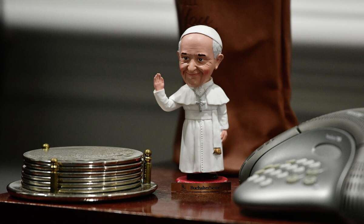 A Pope bobblehead is seen in the office of Albany Diocese Bishop Edward Scharfenberger at the Catholic Diocese headquarters on Tuesday, Jan. 7, 2020 in Albany, N.Y. (Lori Van Buren/Times Union)