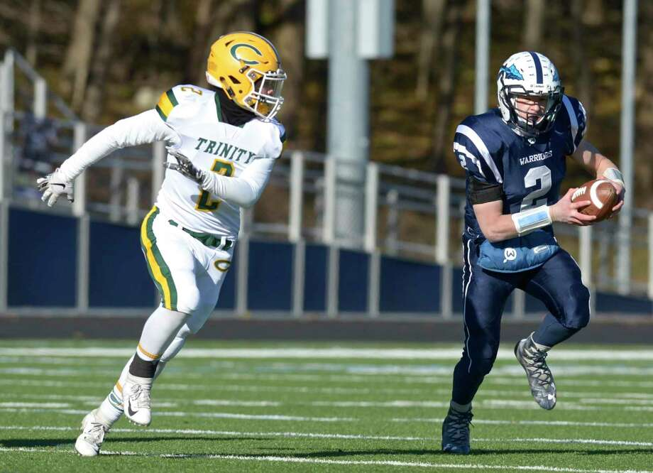 Thanksgiving Day football game between Trinity Catholic and Wilton high schools, Nov. 22, 2018. Photo: H John Voorhees III / Hearst Connecticut Media / The News-Times