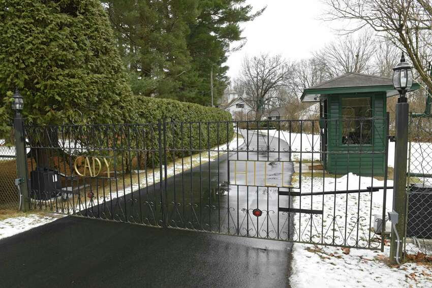 Gate leading to MaryLou Whitney's home Cady Hill at 40 Geyser Road on Friday, Jan. 10, 2020 in Saratoga Springs, N.Y. Whitney's will leaves Cady Hill to her husband John Hendrickson. Two adjoining properties at 14 and 20 Geyser Road were left to two long-term employees. (Lori Van Buren/Times Union)
