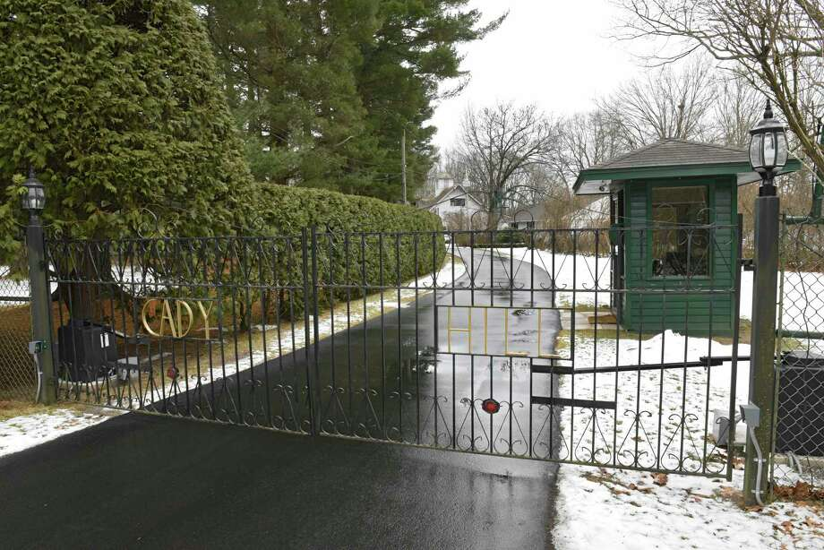 Gate leading to MaryLou Whitney's home Cady Hill at 40 Geyser Road on Friday, Jan. 10, 2020 in Saratoga Springs, N.Y. Whitney's will leaves Cady Hill to her husband John Hendrickson. Two adjoining properties at 14 and 20 Geyser Road were left to two long-term employees. (Lori Van Buren/Times Union) Photo: Lori Van Buren, Albany Times Union / 40048613A