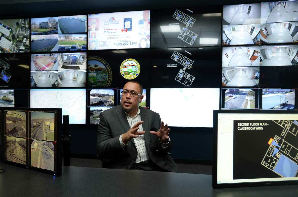 Jorge Garcia, Bridgeport's director of public facilities, talks about the city's new BSAFE Video Security Command Center Wednesday, Nov. 25, 2015, at the Margaret Morton Government Center.