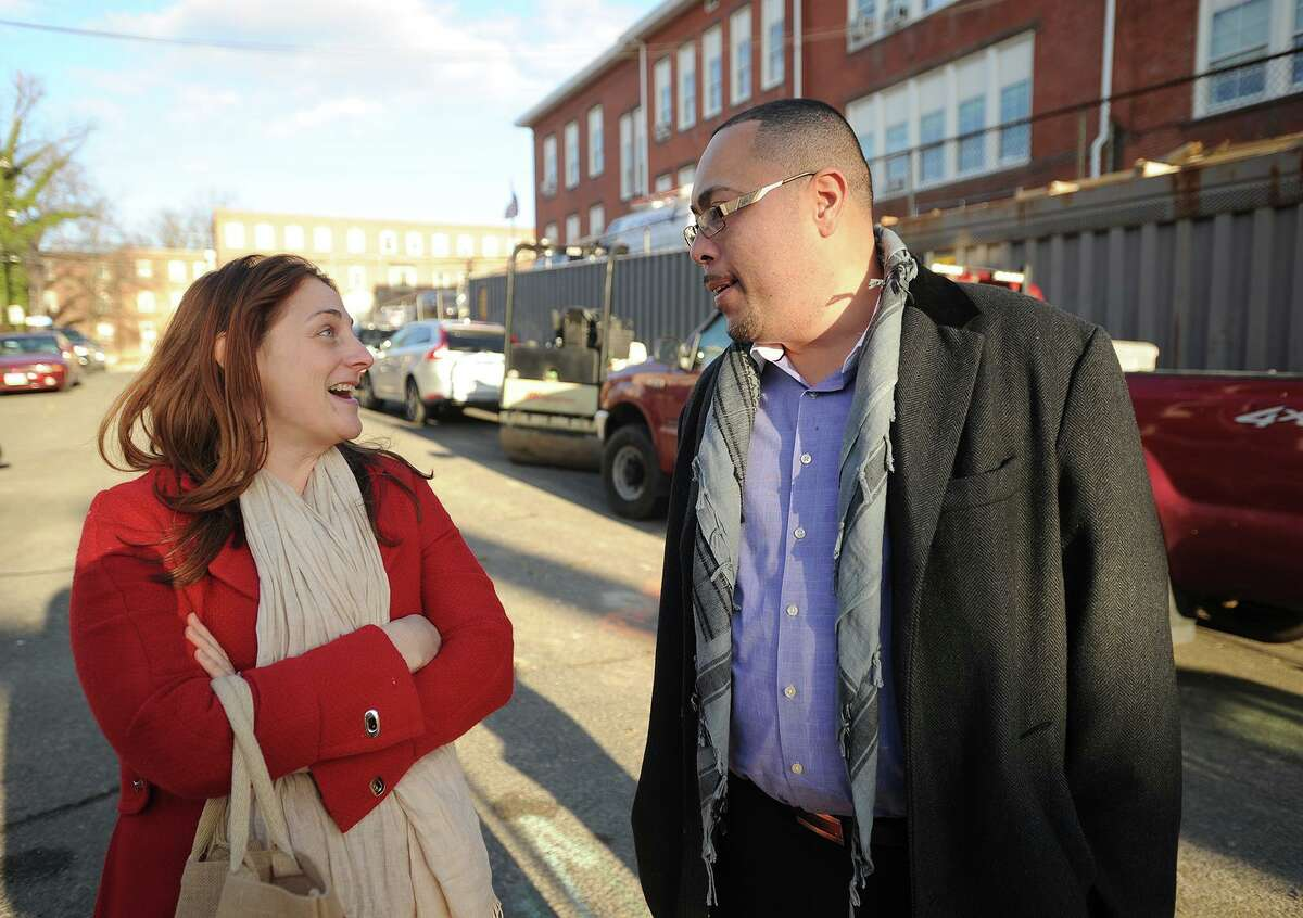 Black Rock School PAC vice president Mandi Jennings talks with Bridgeport Facilities Director Jorge Garcia prior to a tour of the schools' new addition in Bridgeport, Conn. on Tuesday, December 30, 2014.