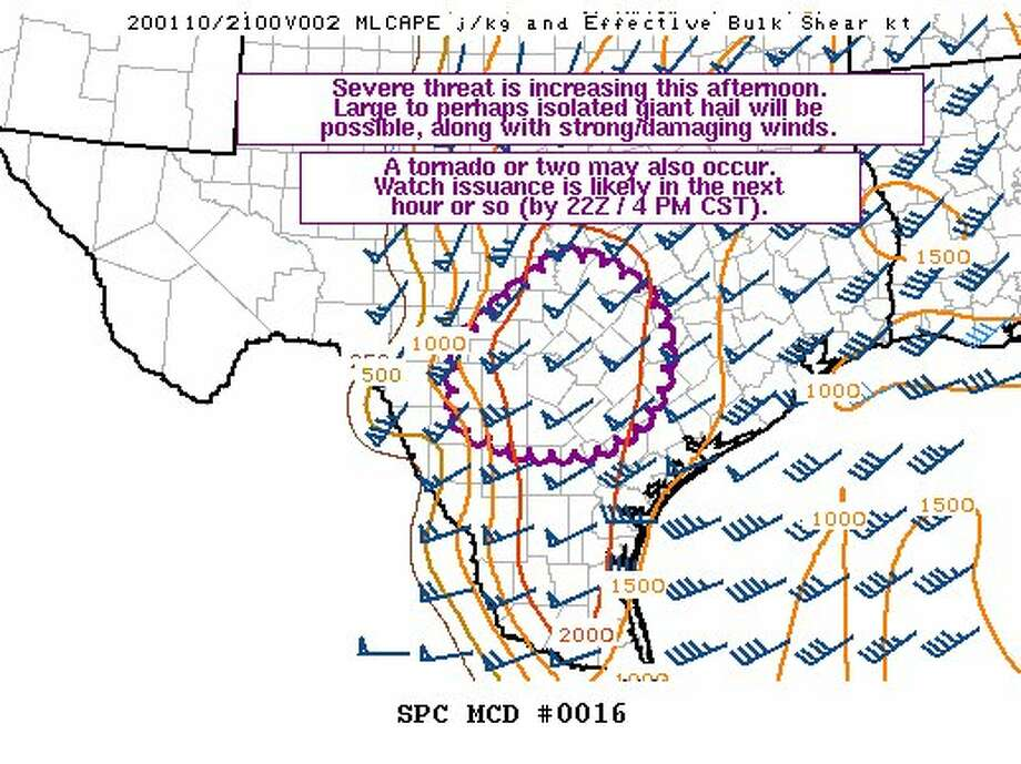 The severe storm threat is increasing Friday afternoon, according to the National Weather Service Storm Prediction Center. Photo: National Weather Service
