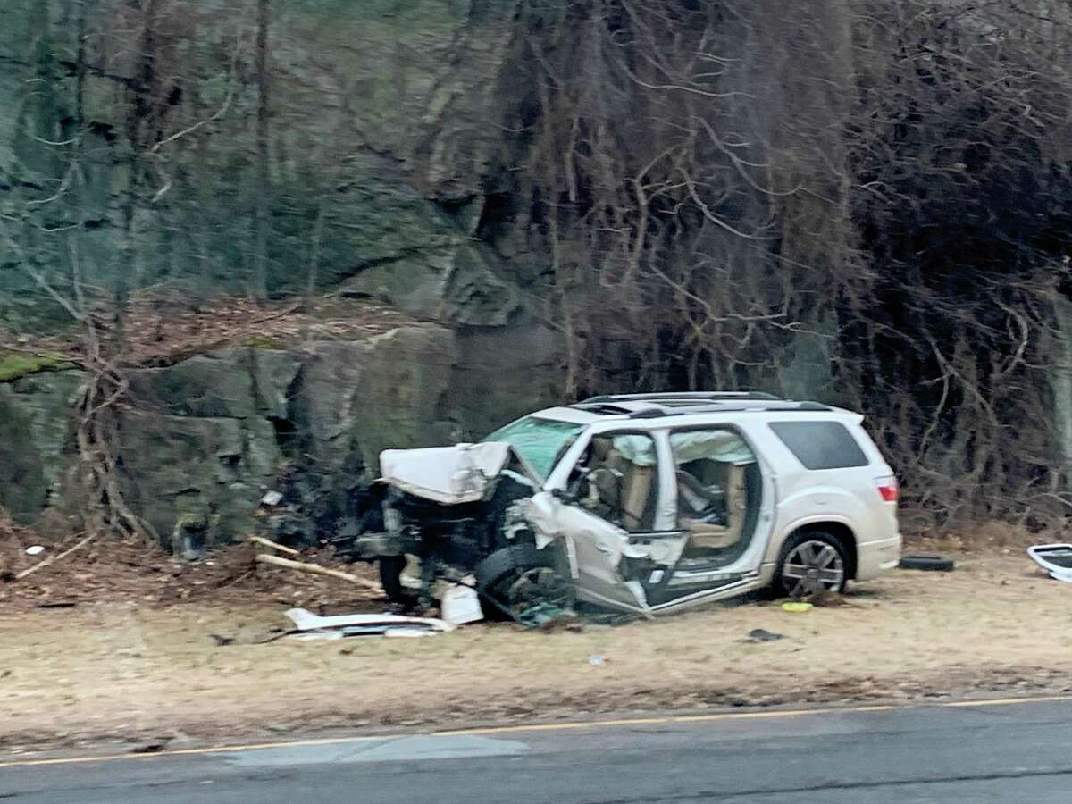 A vehicle involved in a crash on Route 25 south in Trumbull, Conn., on Friday, Jan. 10, 2020.