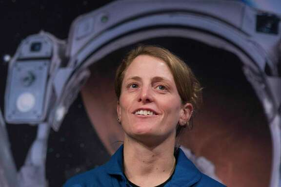 Astronaut Loral O'Hara, a Sugar Land native, answers questions from the press after her graduation ceremony at the Johnson Space Center on Friday, Jan. 10, 2020, in Houston. After completing more than two years of training, the 13 first class astronauts under the Artemis program are now eligible for assignments, including going to the International Space Station, Artemis missions to the Moon and missions to Mars.