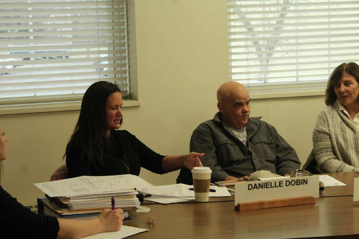 Planning and Zoning Chairman Danielle Dobin, left, speaks at the Commission's Affordable Housing Subcommittee.