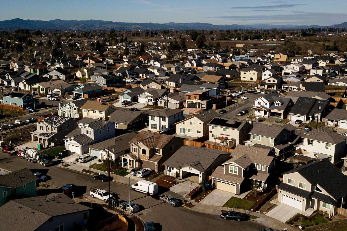 The homes off of Hopper Avenue in the Coffey Park neighborhood on Friday, Jan. 10, 2020, in Santa Rosa, Calif.