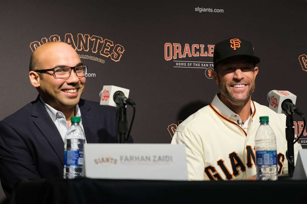 San Francisco Giants President of Baseball Operations Farhan Zaidi and General Manager Scott Harris introduce Gabe Kapler as the new Giant?•s manager at a press conference at Oracle Park in San Francisco, Calif. on Wednesday November 13, 2019.