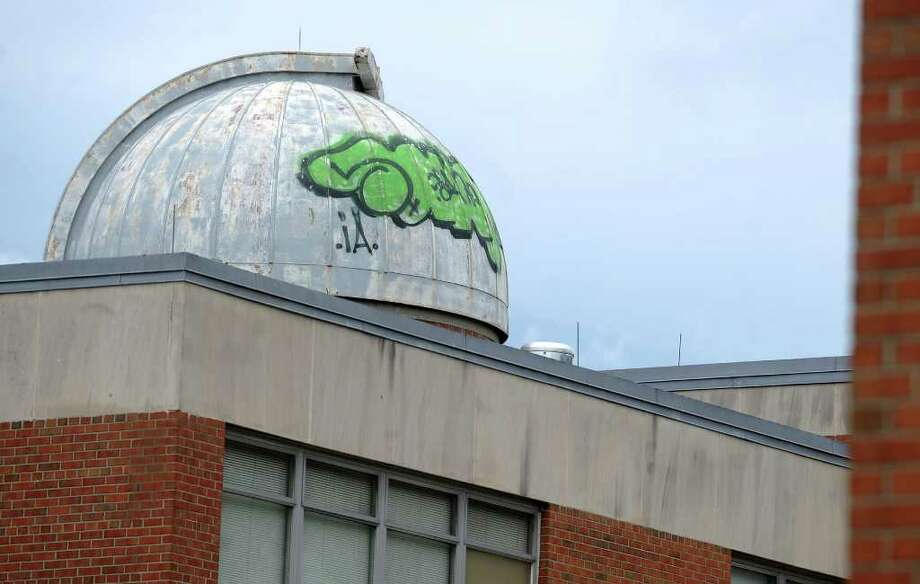 Graffiti at Bridgeport's Bassick High School Thursday August 12, 2010. Photo: Autumn Driscoll / Connecticut Post