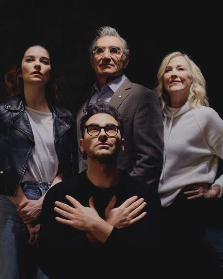 "The stars of ""Schitt's Creek,"" clockwise from left: Annie Murphy, Eugene Levy, Catherine O'Hara and Daniel Levy, in Los Angeles on Dec. 27, 2019. The series is wrapping up just as it achieved something like mainstream success. For its creators and stars, that's the perfect time to go."