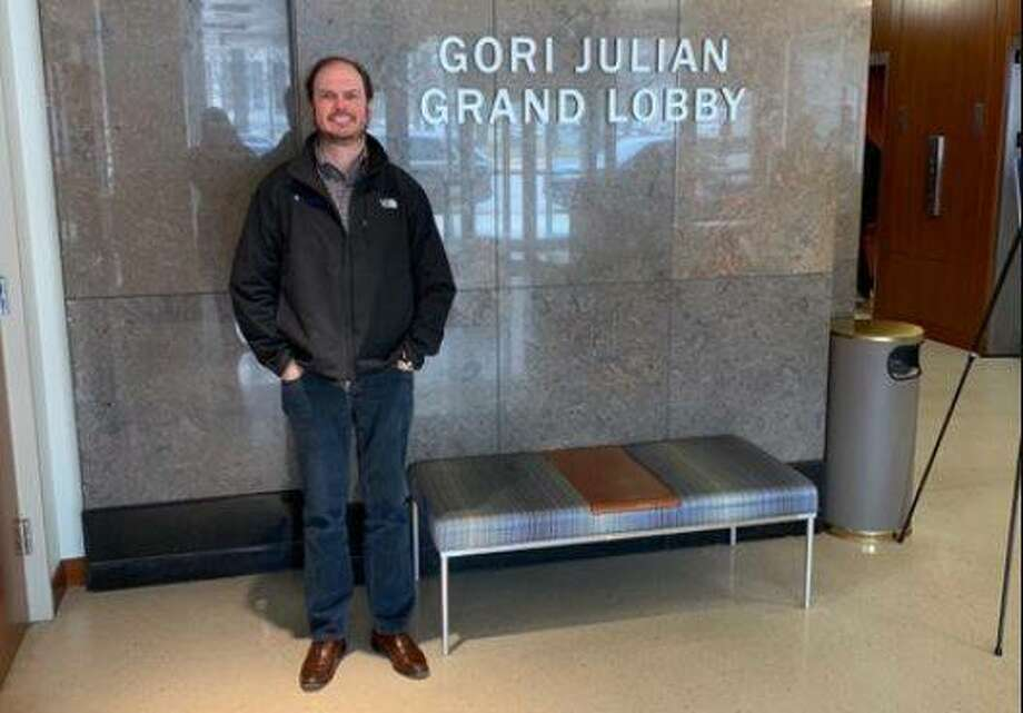 Randy Gori in the Grand Lobby that Saint Louis University renamed in his honor last year after he made a $1 million gift to the university's law school.