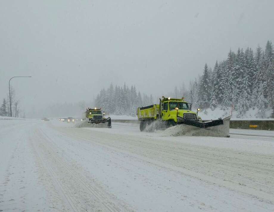 Snow caused several delays on closures on Interstate 90 from North Bend to Ellensburg. Chains were required for all vehicles going over Snoqualmie Pass except for those with all-wheel-drive. Photo: Washington State Department Of Transportation