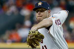Houston Astros relief pitcher Brad Peacock (41) pitches during the sixth inning of Game 6 of the World Series at Minute Maid Park on Tuesday, Oct. 29, 2019, in Houston.