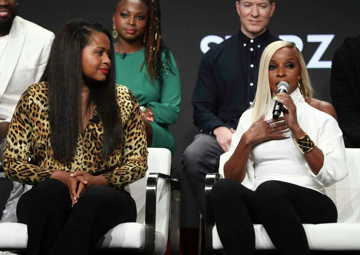 IMAGE DISTRIBUTED FOR STARZ - Creator and executive producer Courtney A. Kemp, left, and Mary J. Blige participate in the