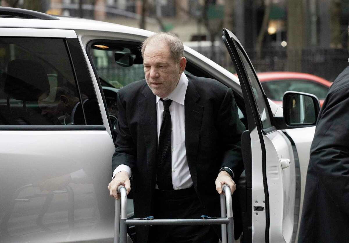 Harvey Weinstein arrives at court to attend jury selection for his sexual assault trial, Friday, Jan. 10, 2020 in New York. Weinstein has been free on bail pending the outcome of his trial. (AP Photo/Mark Lennihan)